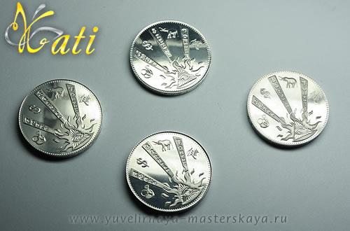 """Ювелирная монета """"На счастье"""" из серебра 925 пробы"""